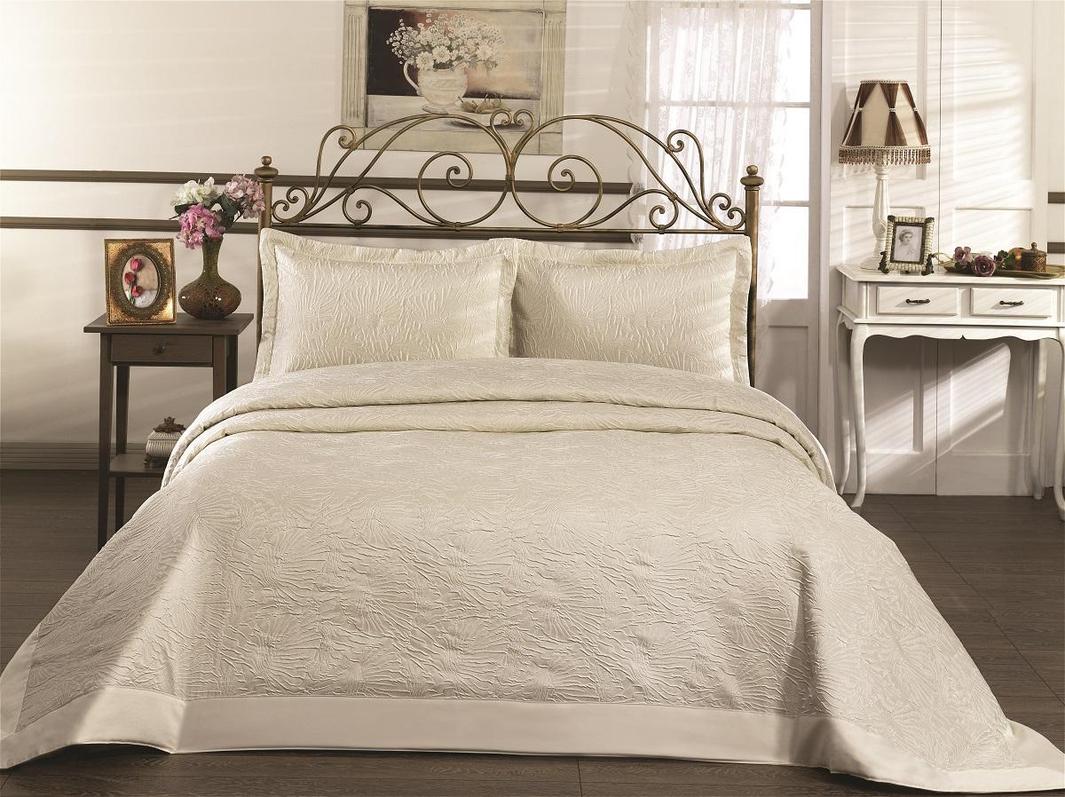 """Комплект для спальни Karna """"Gabel"""": покрывало 260 x 260 см, 2 наволочки 50 х 70 см, цвет: светло-бежевый"""