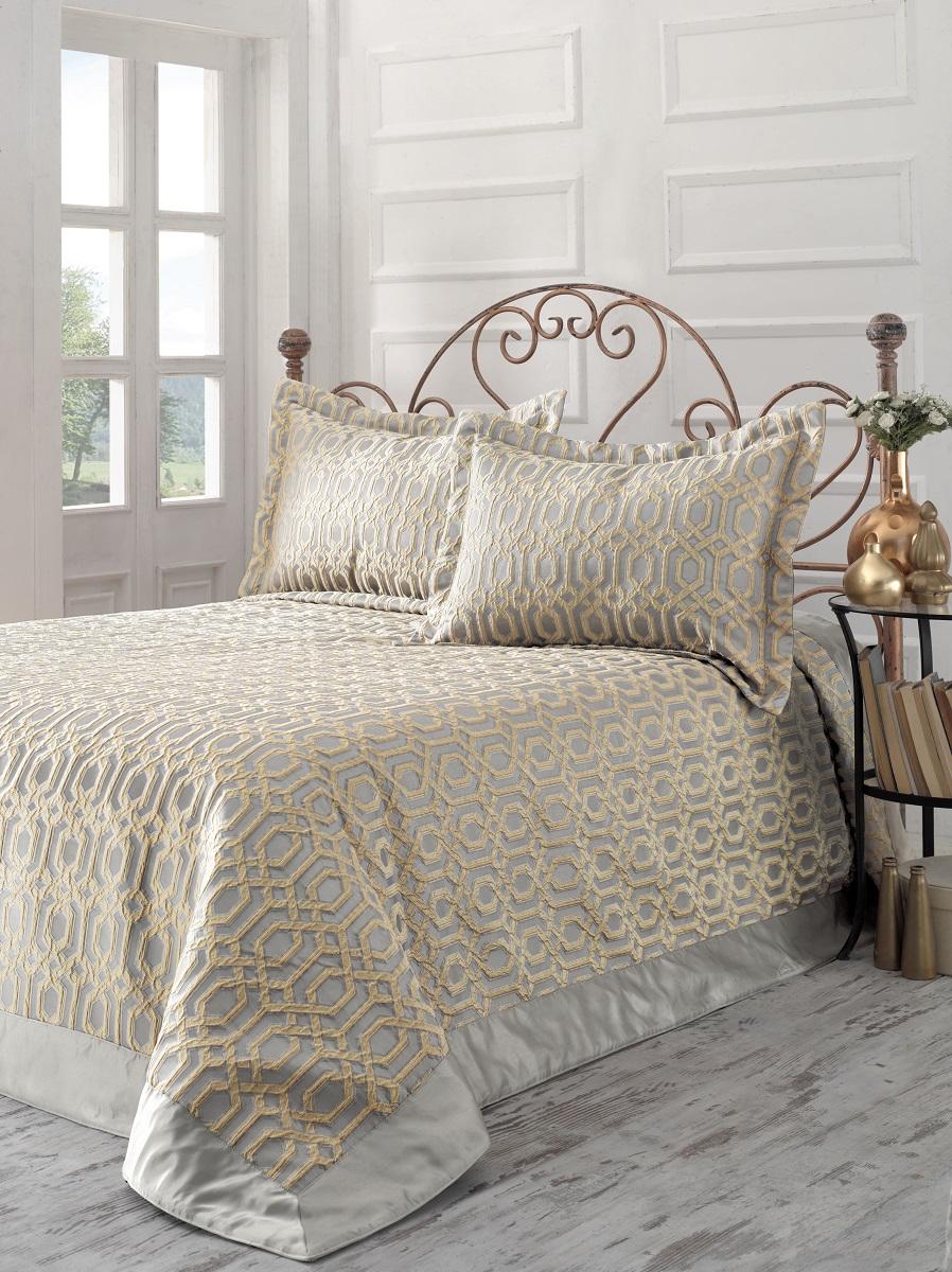 """Комплект для спальни Karna """"Athena"""": покрывало 260 x 260 см, 2 наволочки 50 х 70 см, цвет: золотой"""
