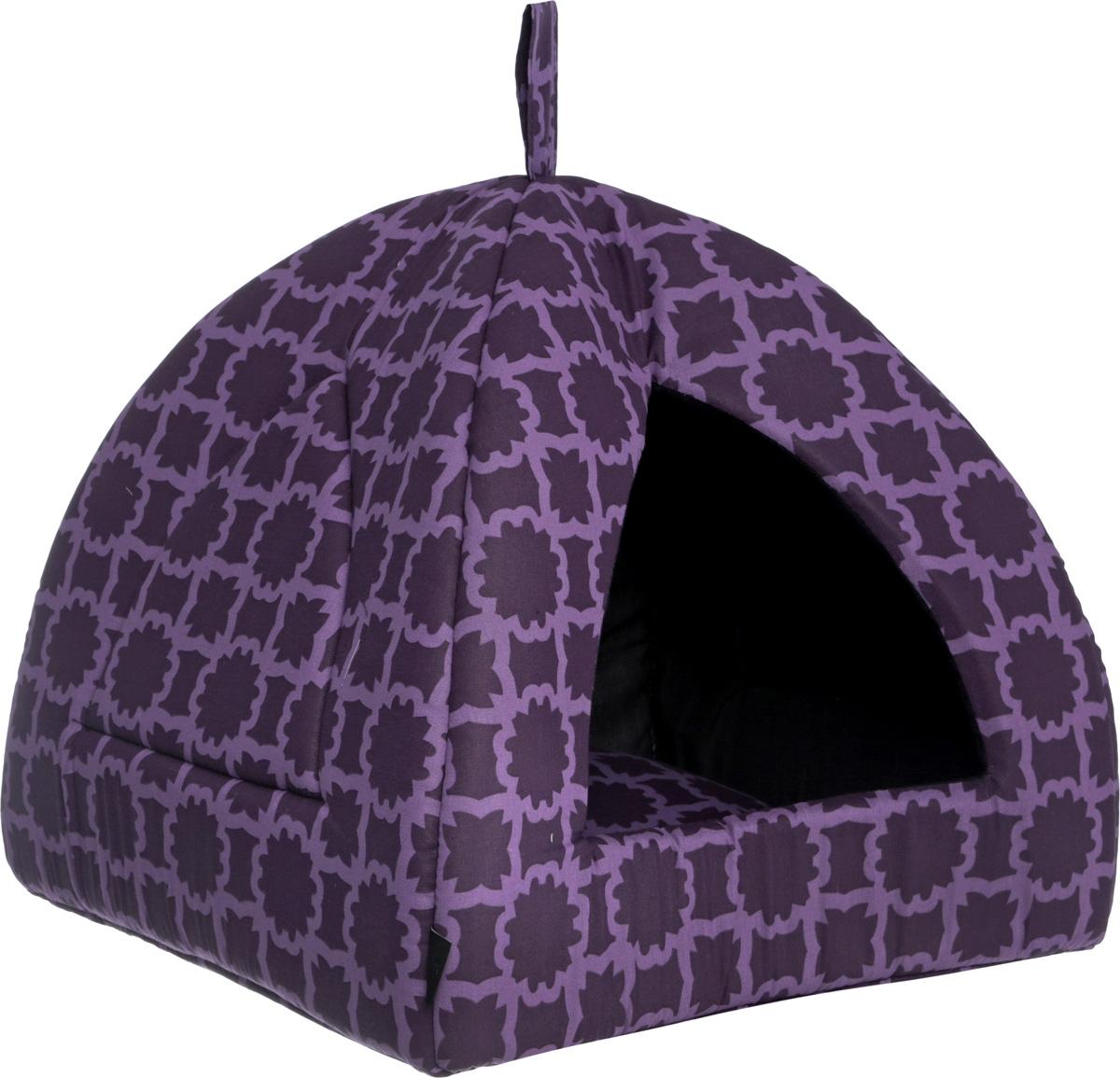 Домик для кошек и собак Гамма, цвет: фиолетовый, сиреневый, 41 см х 41 см х 46 см игрушка головоломка для собак i p t s smarty 30 см х 19 см х 2 5 см