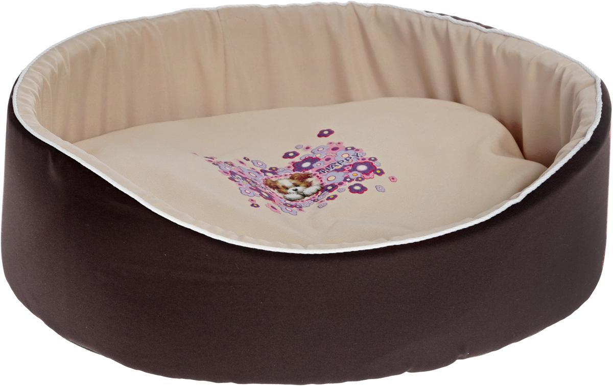 "Лежак для животных GLG ""Картинка"", цвет: темно-коричневый, бежевый, 48 х 35 х 17 см"