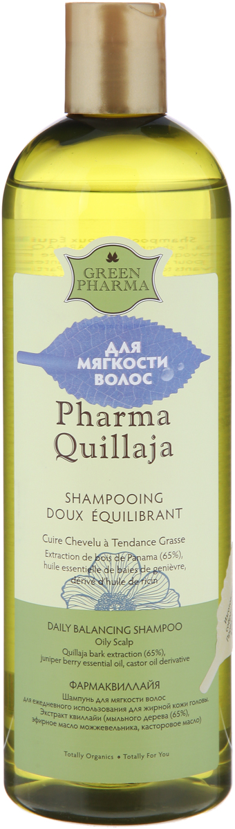 Greenpharma PharmaQuillaja  Шампунь для мягкости волос, для ежедневного использования, для жирной кожи головы, 500 мл, Green Pharma