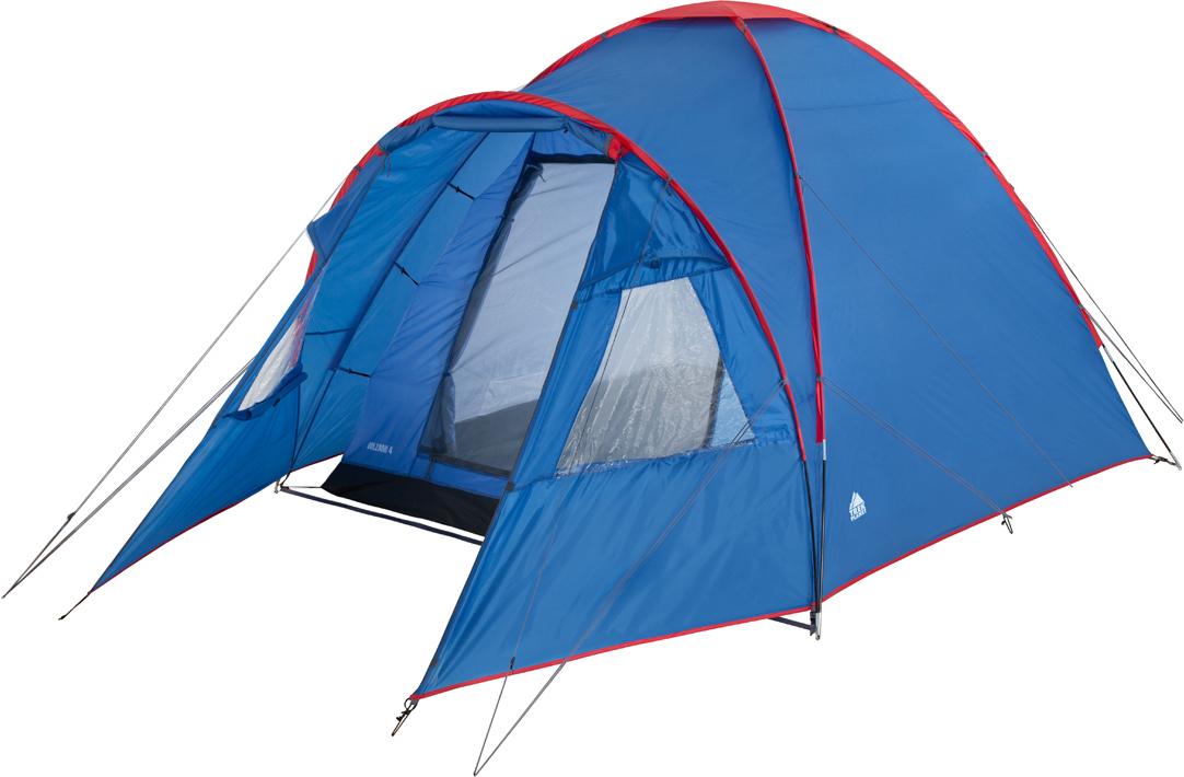 """Четырехместная, высокая – 190 см, палатка """"Bolzano 4"""" прекрасно подойдет для длительного кемпинга и отдыха на природе всей семьей.  Классический купольный тип палатки обеспечивает хорошую ветроустойчивость, легкость и быстроту сборки. Наличие оттяжек и колышков дают дополнительную ветроустойчивость при неблагоприятной погоде.  Внешний тент, выполненный из прочного полиэстера с водонепроницаемой PU пропиткой, и дополнительно проклеенные швы надежно защитят от осадков. Вместительный тамбур с обзорными окнами, которые при желании можно закрыть шторками, позволяет с легкостью расположить небольшой стол и стулья. Внутренняя палатка просторная и комфортна, сделана из """"дышащего"""" материала, который прекрасно отводит конденсат. В палатке хорошая вентиляция, благодаря наличию москитной сетки в полный размер двери и вентиляционного окна.  Внутри палатки имеется подвеска для фонаря и карманы для хранения мелочей.  ОСОБЕННОСТИ МОДЕЛИ: - Палатка легко и быстро устанавливается, - Тент палатки из полиэстера с пропиткой PU водостойкостью 2000мм, надежно защитит от дождя и ветра, - Все швы проклеены, - Просторный и высокий тамбур, - Большие обзорные окна со шторками в тамбуре, - Внутренняя палатка, выполненная из """"дышащего"""" полиэстера, обеспечивает вентиляцию помещения и отводит конденсат, - Два вентиляционных окна в тамбуре и одно в спальном помещении, - Каркас выполнен из прочного стеклопластика, - Дно из прочного водонепроницаемого армированного полиэтилена позволяет устанавливать палатку на жесткой траве, песчаной поверхности, глине и т.д. - Удобная D-образная дверь на входе в спальное помещение, - Москитная сетка на входе в спальное помещение в полный размер двери, - Внутренние карманы для мелочей, - Возможность подвески фонаря в палатке. - Палатка упакована в сумку-чехол с ручками, застегивающуюся на застежку-молнию, - Растяжки и колышки в комплекте Характеристики: Количество мест: 4 Цвет: синий/красный Размер: 240 см х (220+130) см х 190 см. Размер в сложенном виде: 68 см х 20"""