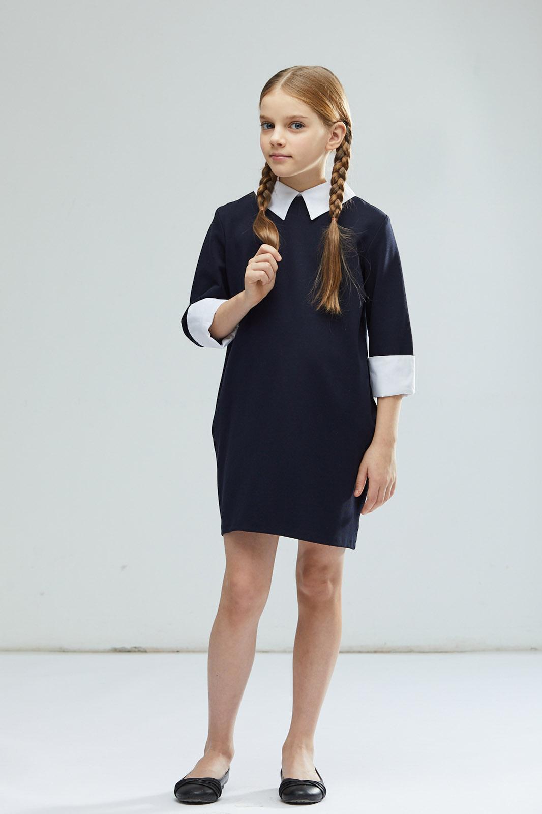 Платье для девочки Смена, цвет: синий. 17с772-66. Размер 140