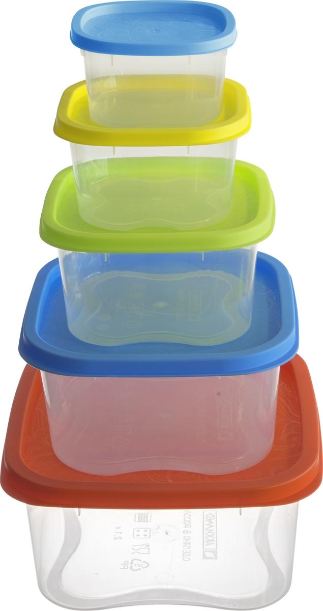 Набор контейнеров Архимед Фокус, 5 шт, цвет: мультиколор набор контейнеров idea квадратные цвет салатовый 0 5 л 3 шт