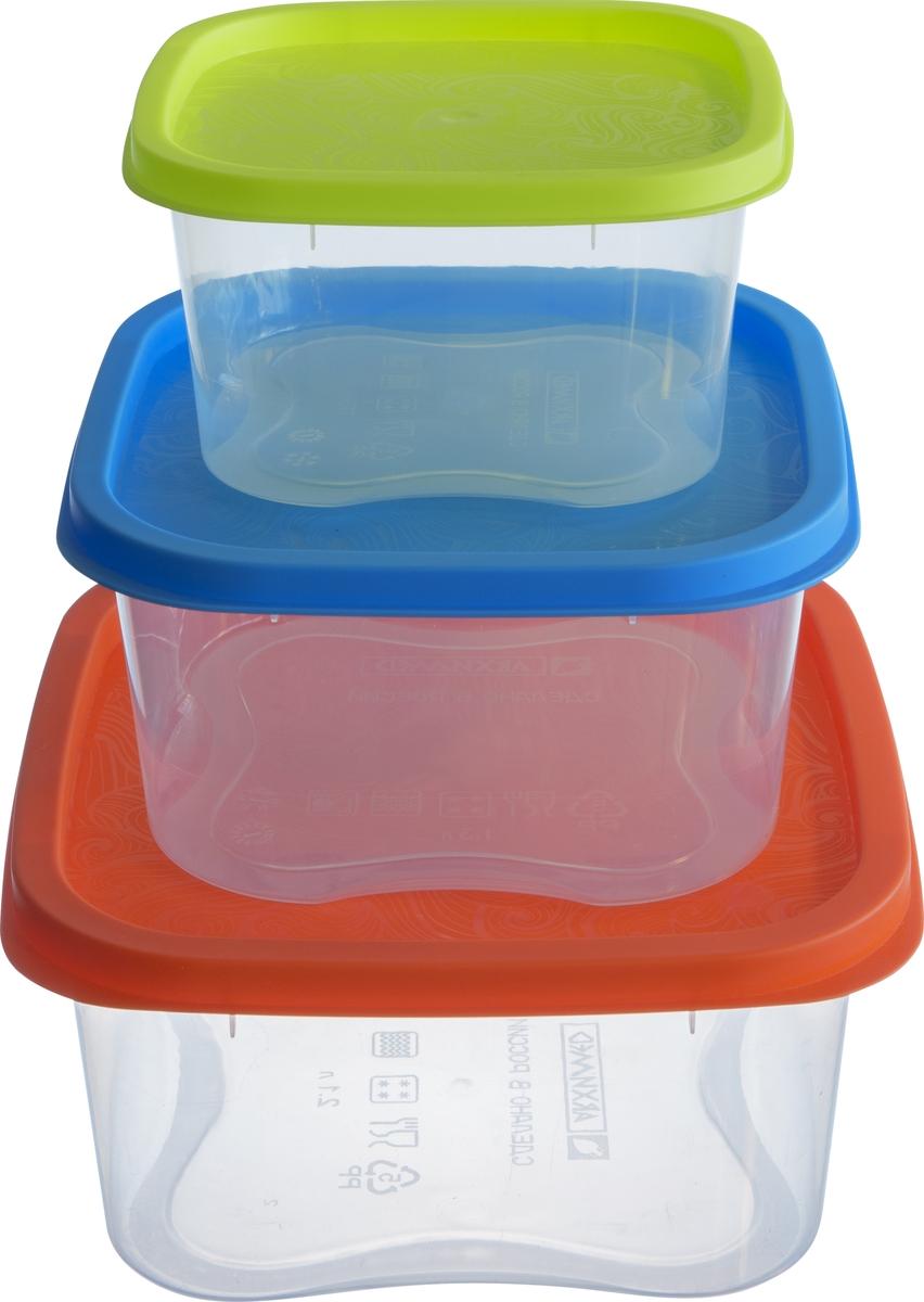 Набор контейнеров Архимед Фокус, 3 шт, цвет: мультиколор набор контейнеров idea квадратные цвет салатовый 0 5 л 3 шт