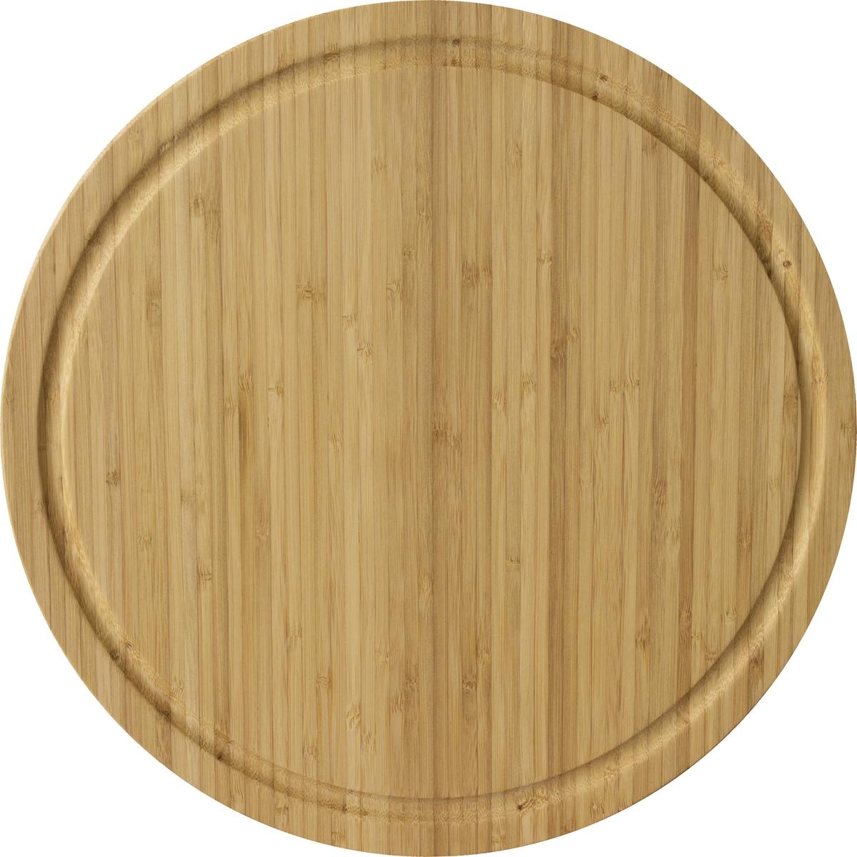 Разделочная доска круглой формы выполнена из экологически чистого материала бамбук. Легко моется и быстро сохнет.