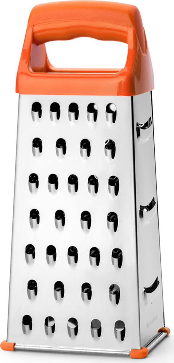Классическая терка с четырьмя универсальными сторонами для измельчения продуктов. Ручка выполнена из нескользящего пластика, благодаря чему терку удобно придерживать рукой. Подходит для мытья в посудомоечной машине.