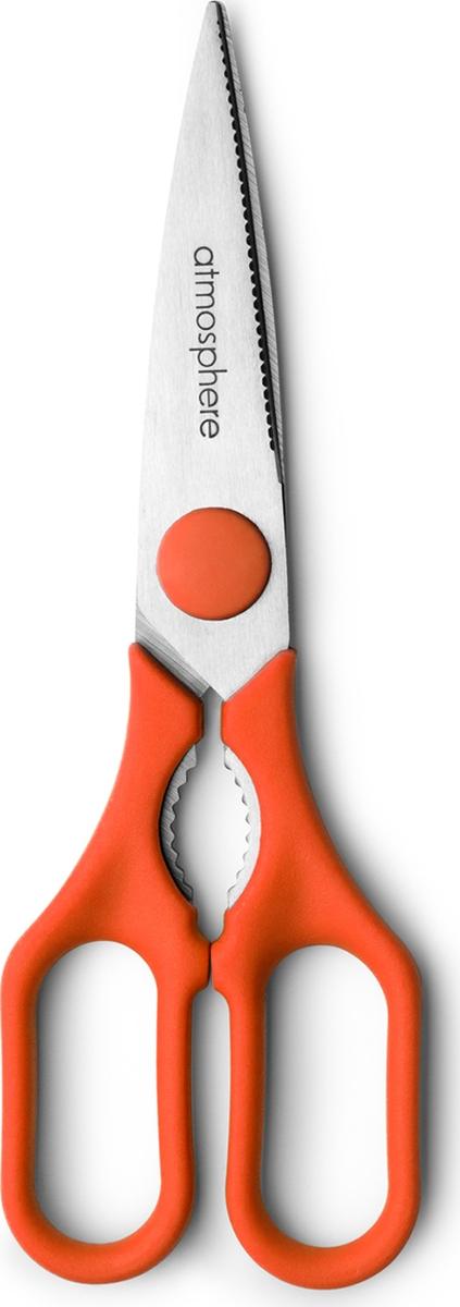Универсальные ножницы от бренда Atmosphere помогут вам на кухне. Прибор можно использовать при открытие бумажного или пластикового пакета, разделать птицу, рыбу. Ножницы острые и прочные. Не требуют частой заточки. Ручки изделия выполнены из пластика. Подходят для мытья в посудомоечной машине.