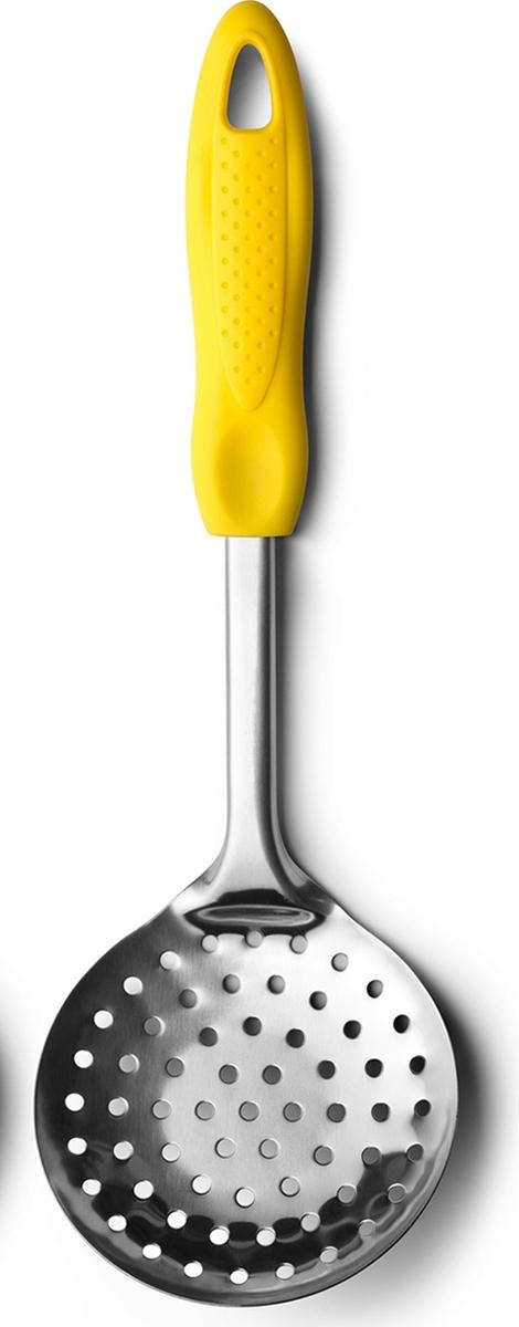 Шумовка из нержавеющей стали с отверстиями удобного размера, позволяет легко и быстро снимать пену и доставать вареники или пельмени по несколько штук. Ручка выполнена из пластика. Подходит для мытья в посудомоечной машине.