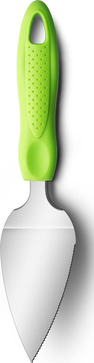 Лопатка для торта имеет один зубчатый край, хорошо подходящий для разрезания пирогов и тортов. Лопатка сужается к краю, что позволяет легко поддевать отдельные кусочки. Имеет удобную пластиковую ручку. Подходит для мытья в посудомоечной машине.