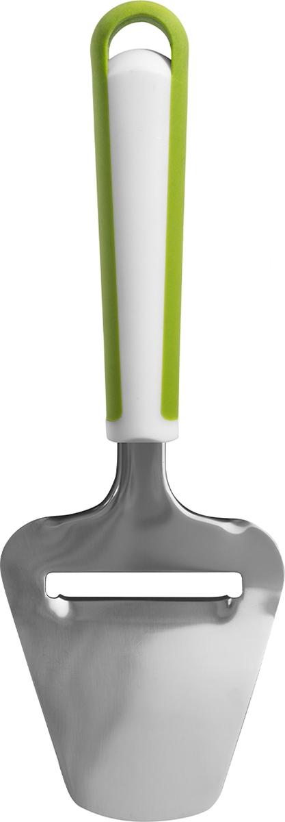 Сырорезка из нержавеющей стали. Прорезь на рабочей части исключает слипание ломтиков во время нарезки. Широкая форма поможет легко разложить кусочки. Удобная нескользящая ручка выполнена из пластика.