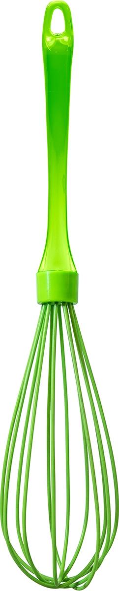 """Силиконовый венчик с пластиковой ручкой Atmosphere """"Neon"""". За счет особых свойств силикона к рабочей части венчика не липнут частички продуктов процессе приготовления. Подходит для мытья в посудомоечной машине."""