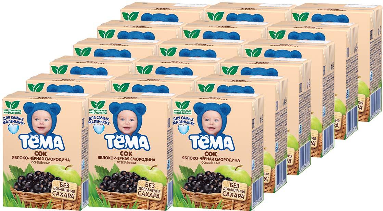 Тема Сок яблочно-черносмородиновый, 18 шт по 200 мл тема сок яблочно персиковый 18 шт по 200 мл