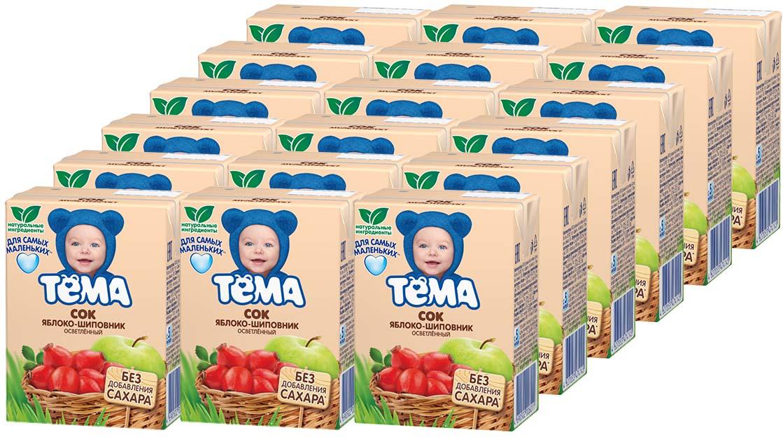 Тема Сок яблочный-шиповниковый осветленный, 18 шт по 200 мл тема сок яблочно персиковый 18 шт по 200 мл