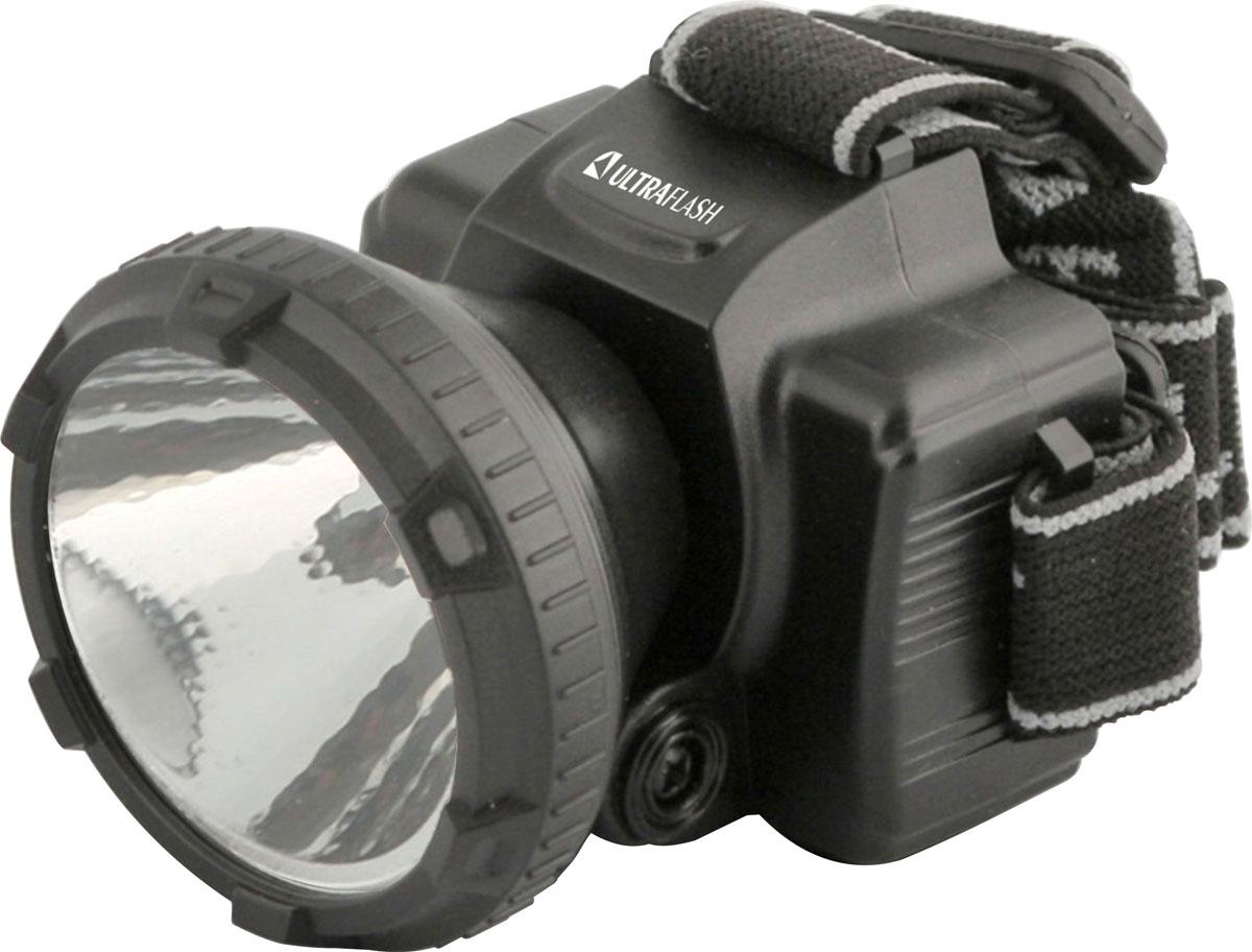 Фонарь налобный Ultraflash Headlite, аккумуляторный, 2 режима, цвет: черный. LED5366