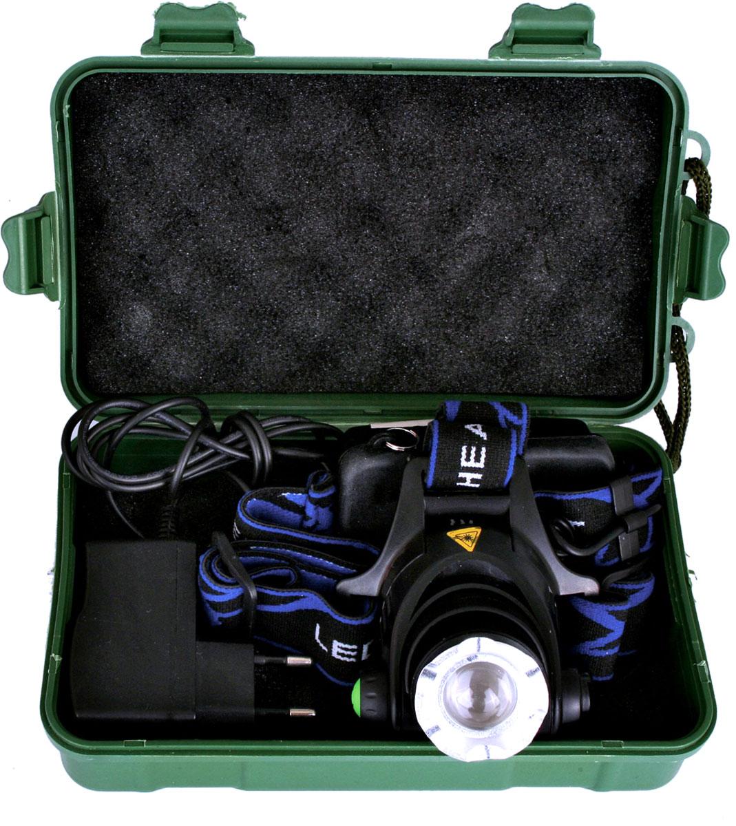 Фонарь налобный Ultraflash Headlite, аккумуляторный, фокус, 3 режима, цвет: черный. E150