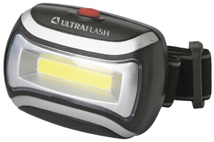 Фонарь налобный Ultraflash Headlite, 3 режима, цвет: черный, серебристый. LED5380