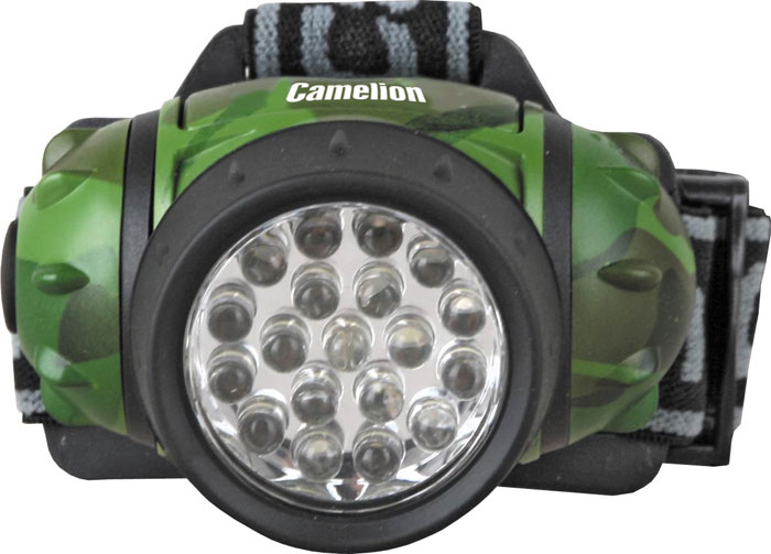 Фонарь налобный Camelion Headlite, 19 LED, 4 режима, цвет: камуфляж. LED5313-19F4ML powerful led flashlight 20000 lumen lanterna led tactical flashlight torch 15 x cree xm t6 led waterproof light super bright