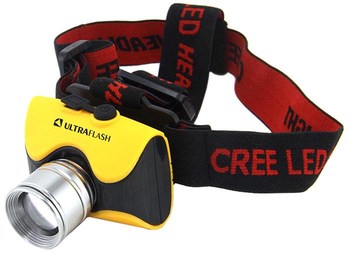 Фонарь налобный Ultraflash Headlite, аккумуляторный, фокус, 3 режима, цвет: желтый. E157