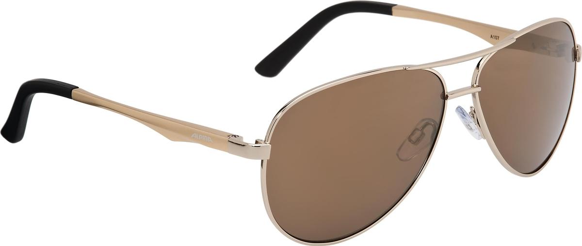 """Alpina """"A 107"""" - знаменитый дизайн, так называемые очки пилота. Высококачественная зеркальная линза с керамическим покрытием отлично защищает от ультрафиолета, а также стойко к царапинам. Особенности: - зеркальные линзы обеспечивают защиту от ультрафиолета - керамическое покрытие защищает от царапин - возможно установить оптические линзы - адаптивная конструкция переносицы для более комфортной посадки Характеристики: - категория защиты: S3 - сменные линзы в комплекте: нет"""