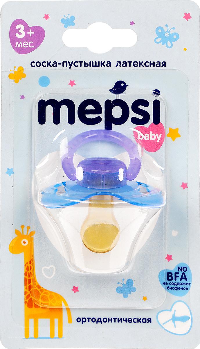 Mepsi Соска-пустышка латексная ортодонтическая от 3 месяцев цвет синий 0303