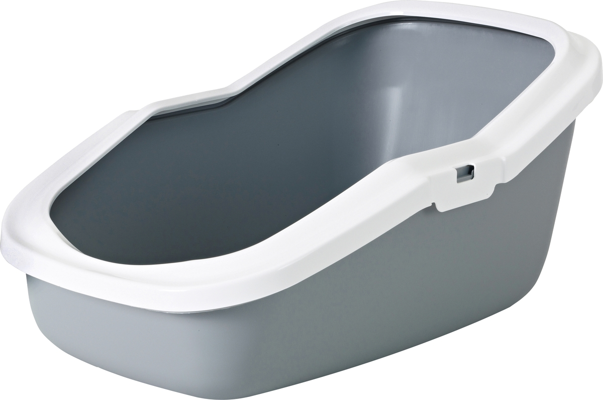 Туалет для кошек Savic Aseo, с высокими бортами, цвет: серый, 56 х 39 х 27,5 см bergamo туалет средний с бортами для кошек 45х35х10 см