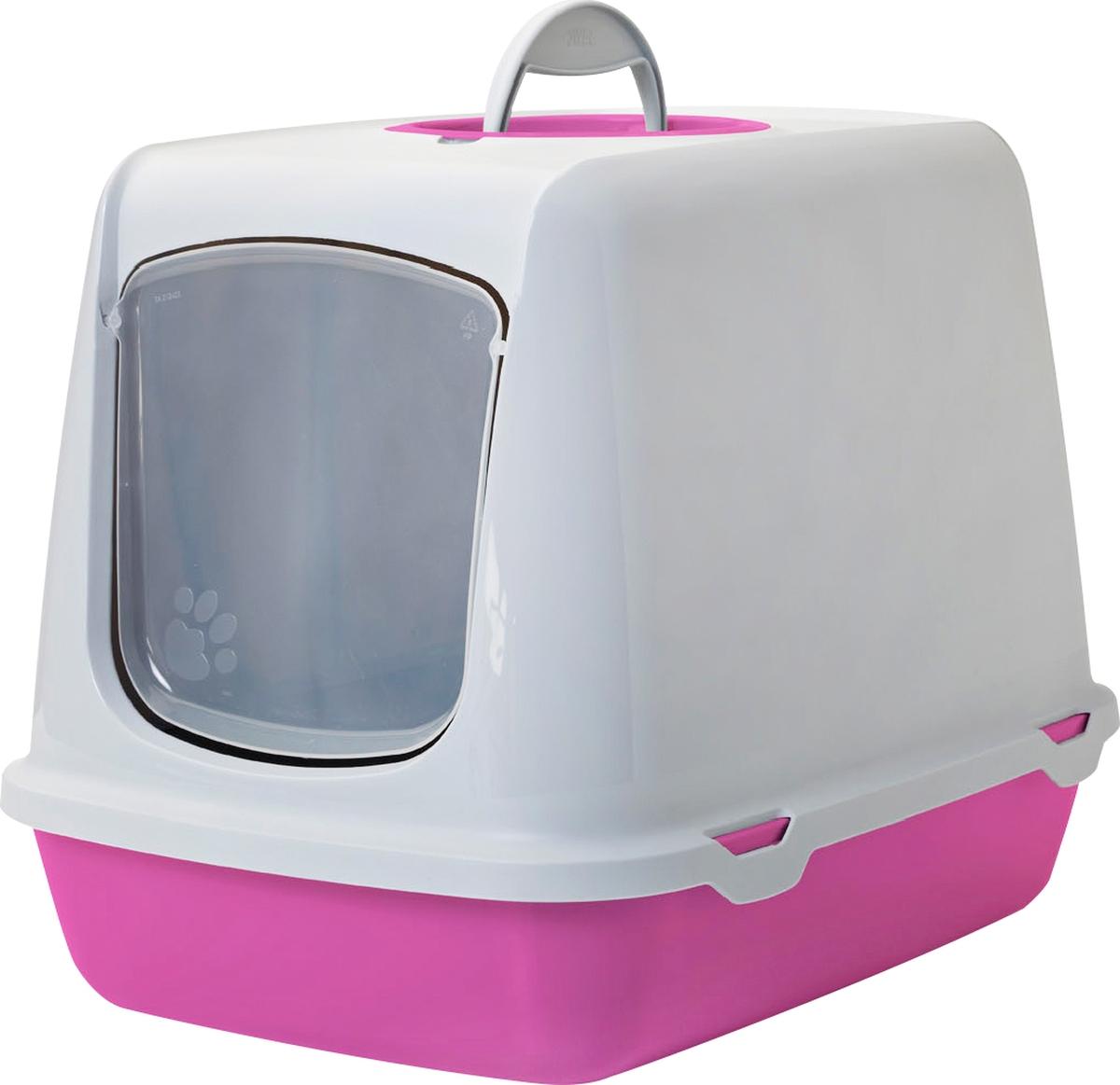 Туалет для кошек Savic Oscar, цвет: белый, розовый, 50 х 37 х 13,9 см туалет для кошек curver pet life закрытый цвет кремово коричневый 51 х 39 х 40 см