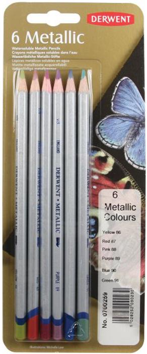 Derwent Набор цветных карандашей Metallic Coloured 6 цветов derwent набор цветных карандашей coloursoft 36 цветов