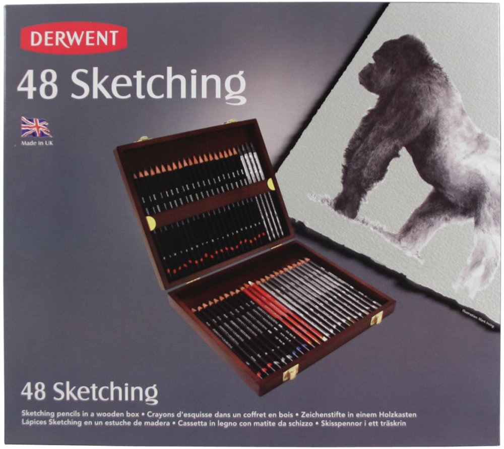 Derwent Набор чернографитных карандашей Sketching 48 шт 14 pieces sketch drawing pencil set 12b10b 8b 7b 6b 5b 4b 3b 2b 1b hb 2h 4h 6h