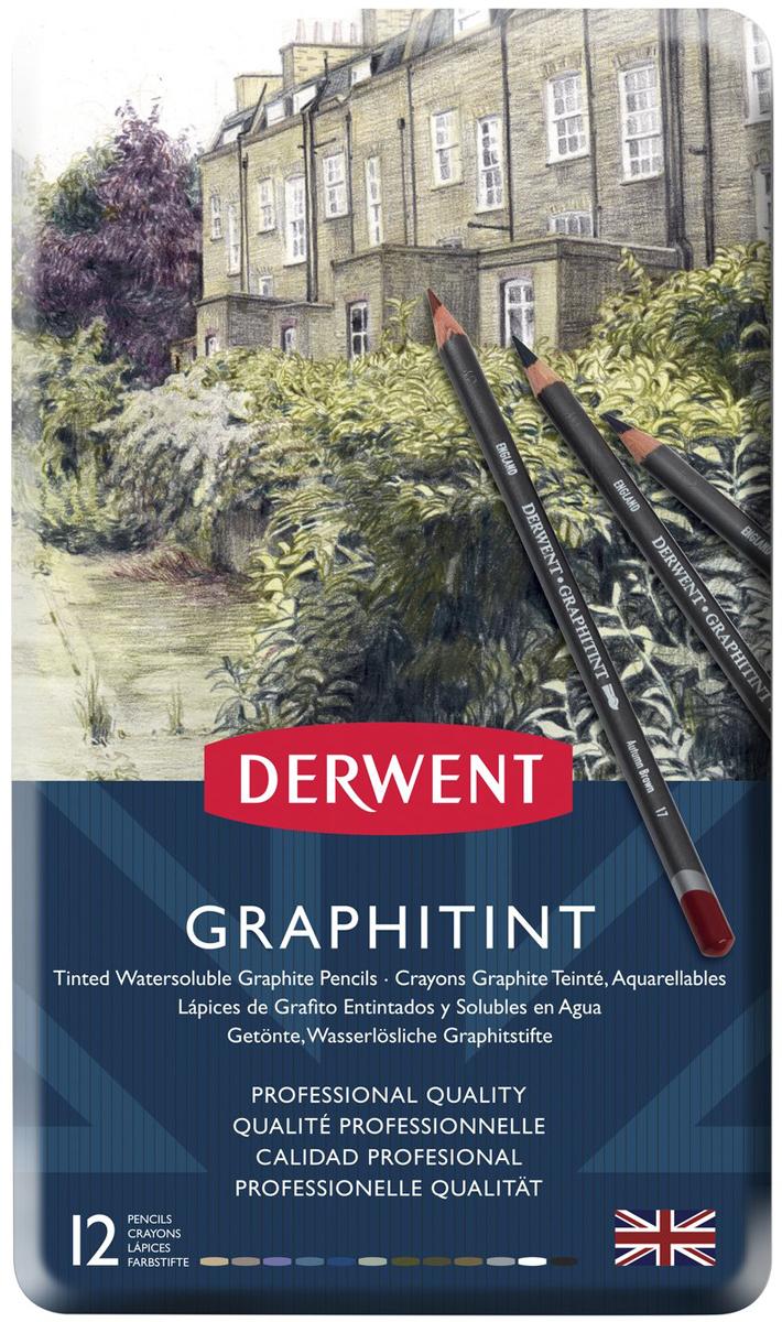 Derwent Набор акварельных карандашей Graphitint 12 цветов