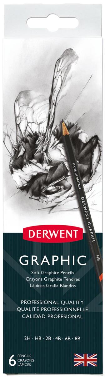 Derwent Набор чернографитных карандашей Graphic 6 шт с точилкой карандаши