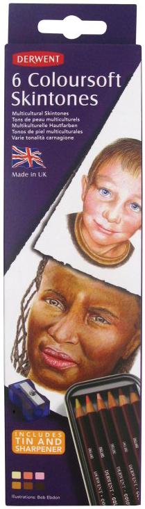 Derwent Набор цветных карандашей Coloursoft Оттенки кожи 6 цветов derwent набор цветных карандашей studio 36 цветов