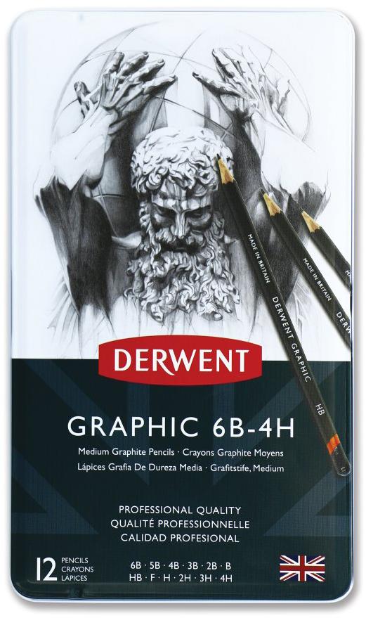 Derwent Набор чернографитных карандашей Graphic Medium 12 шт карандаши чернографитные tradition 110 6 штук 2h hb b 2b 4b 6b точилка ластик 61110c6