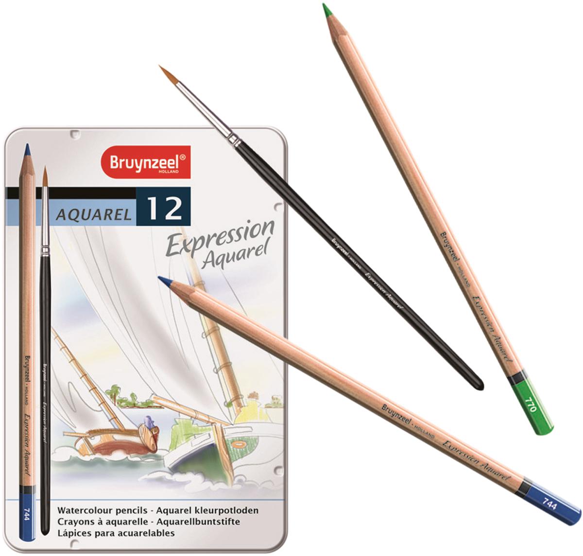 Bruynzeel Набор акварельных карандашей Expression Aquarel 12 цветов + кисть