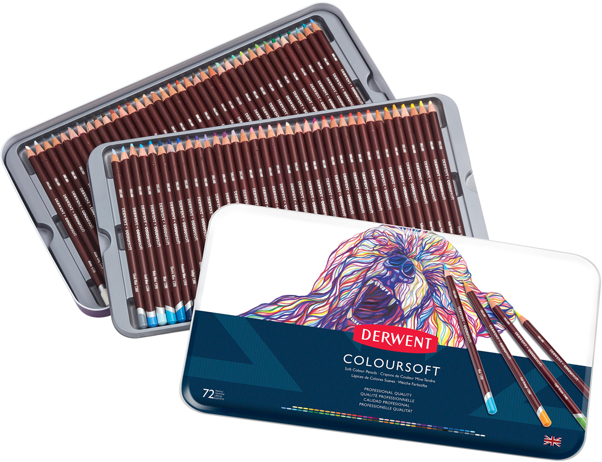 Derwent Набор цветных карандашей Coloursoft 72 цвета 0701029 derwent набор цветных карандашей coloursoft 36 цветов