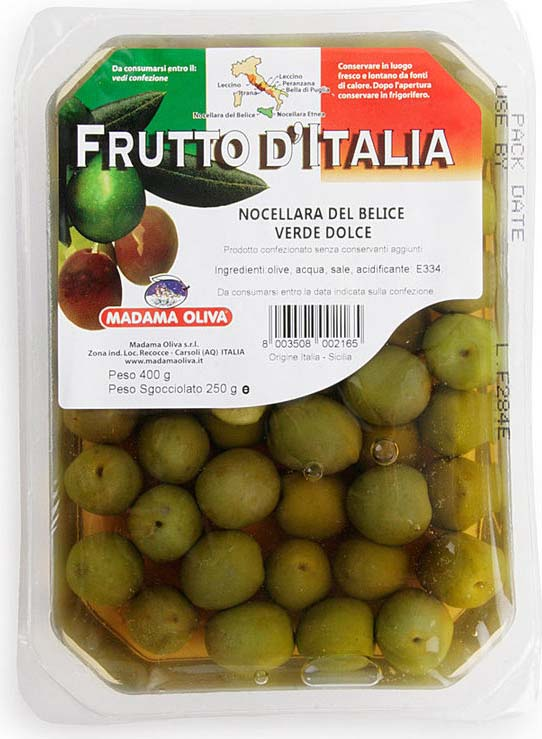 Madama oliva Оливки зеленые Nocellara of Belice, 250 г delphi маслины с косточкой натуральные в рассоле 350 г