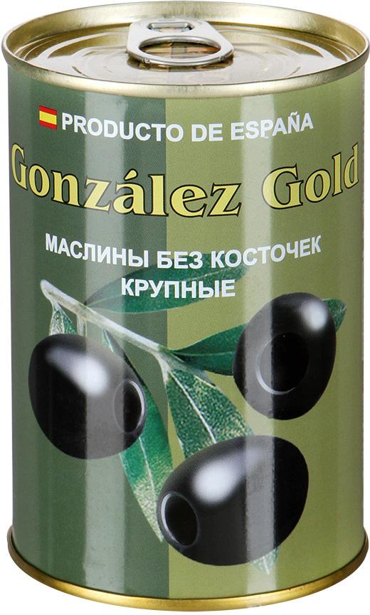 Aceitunas Gonzalez Маслины голд крупные без косточки, 425 г маслины gonzalez gold без косточек 425г