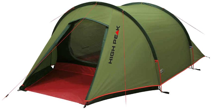 Палатка High Peak Kite 3, цвет: зеленый, красный, 180 х 340 х 105 см. 10189