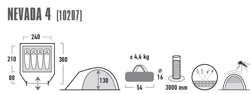 Палатка High Peak Nevada 4, цвет: темно-серый, 240 х 300 х 130 см. 10207