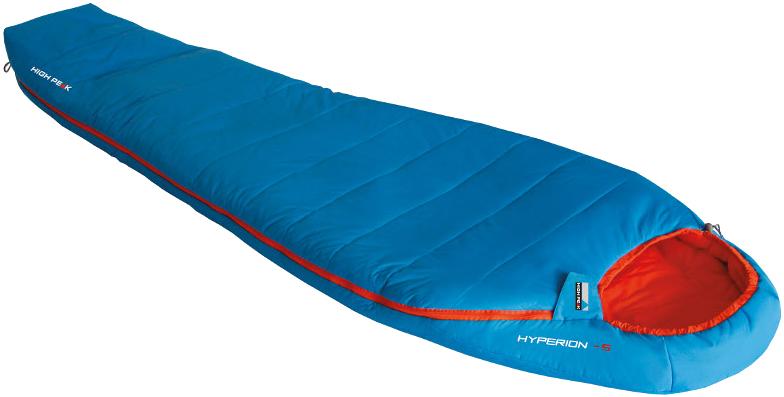 Мешок спальный High Peak Hyperion -5, цвет: голубой, оранжевый, левосторонняя молния. 23370 спальный мешок high peak lite pak 800 цвет синий оранжевый левосторонняя молния