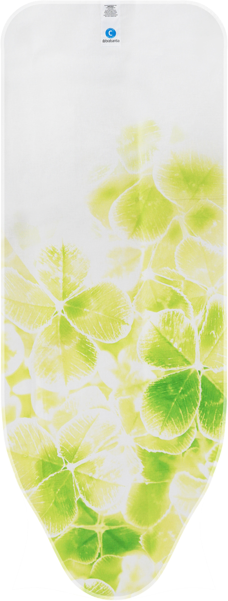 Чехол для гладильной доски Brabantia Perfect Fit, 2 мм, цвет: клевер, 124 х 45 см. 191527 чехол для гладильной доски brabantia ящерица с войлоком 124 см х 38 см цвет голубой 265006