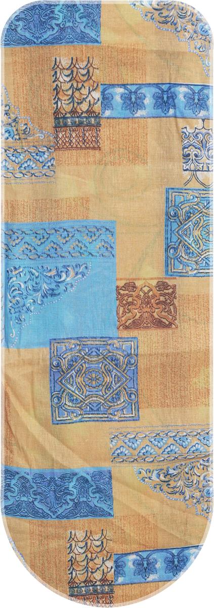 Чехол для гладильной доски Eva, цвет: синий, голубой, коричневый, 129 х 45 см чехол для рукава гладильной доски leifheit цвет голубой 52 х 12 см