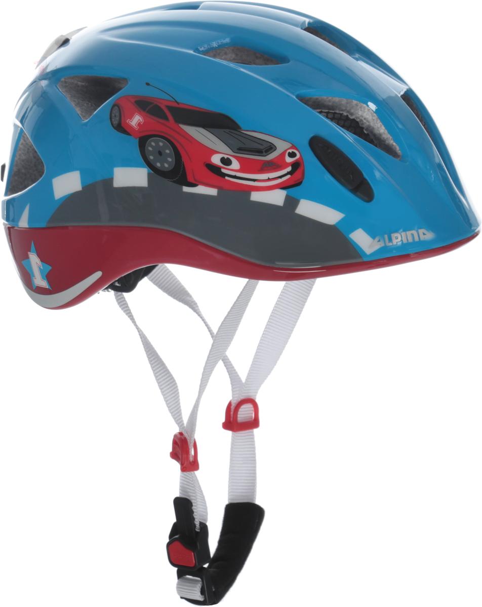 Велошлем Alpina Ximo Flash, цвет: голубой, красный. Размер 45-49 см