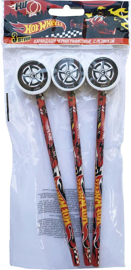 Mattel Карандаш чернографитный Hot Wheels с фигурной резинкой 3 шт lyra карандаш чернографитный groove graphit maxi