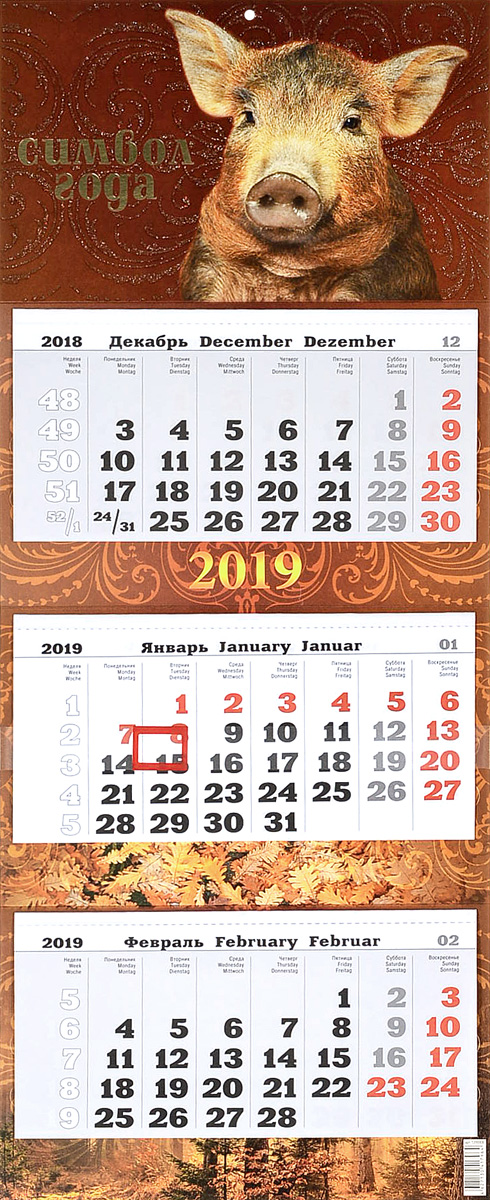 Символ года. Календарь 2019