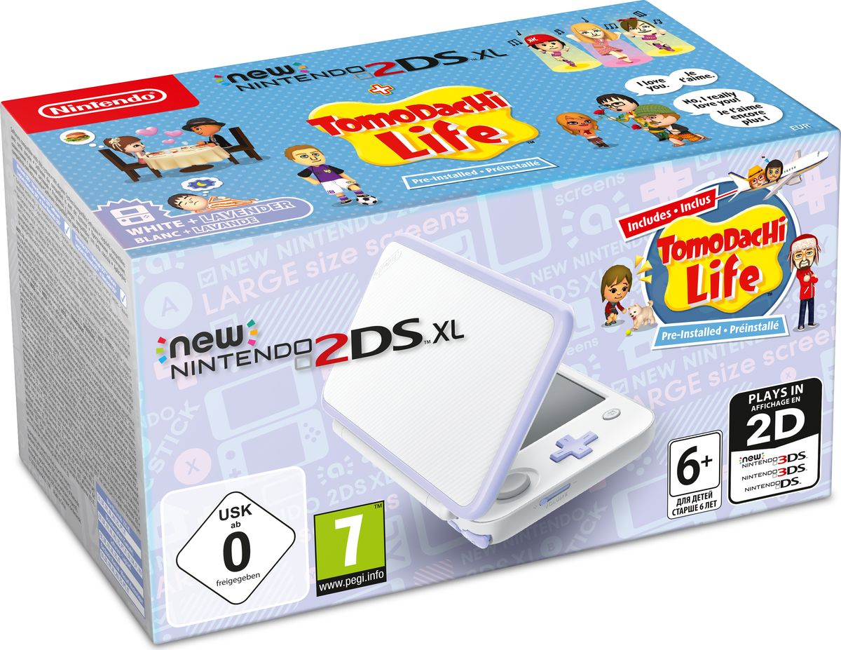 Игровая приставка New Nintendo 2DS XL, White Lavender + Tomodachi Life игровая приставка new nintendo 2ds xl black lime mario kart 7