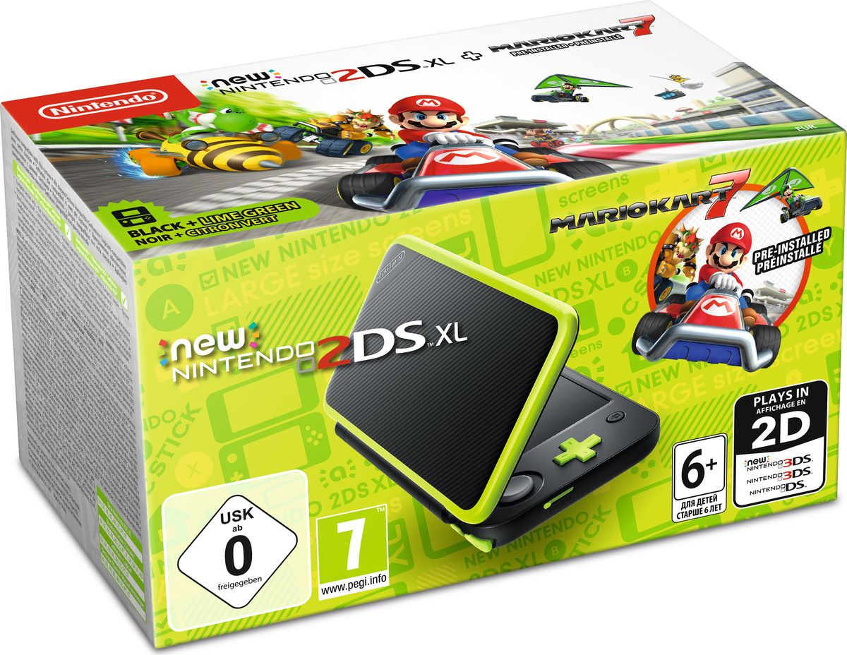 Игровая приставка New Nintendo 2DS XL, Black Lime + Mario Kart 7