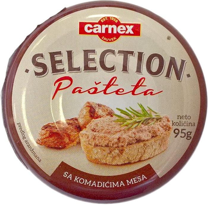 Carnex Паштет с кусочками мяса Selection, 95 г паштет argeta из мяса индейки 95г
