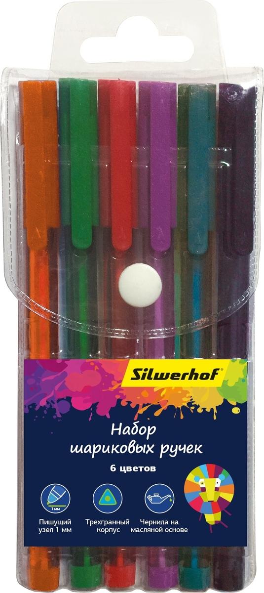 Набор цветных шариковых ручек Цветландия, 6 цветов Яркие насыщенные цвета, трехгранный тонированный полупрозрачный корпус, мягкий пишущий узел 1.0 мм, удобный ПВХ-пенал на кнопке.