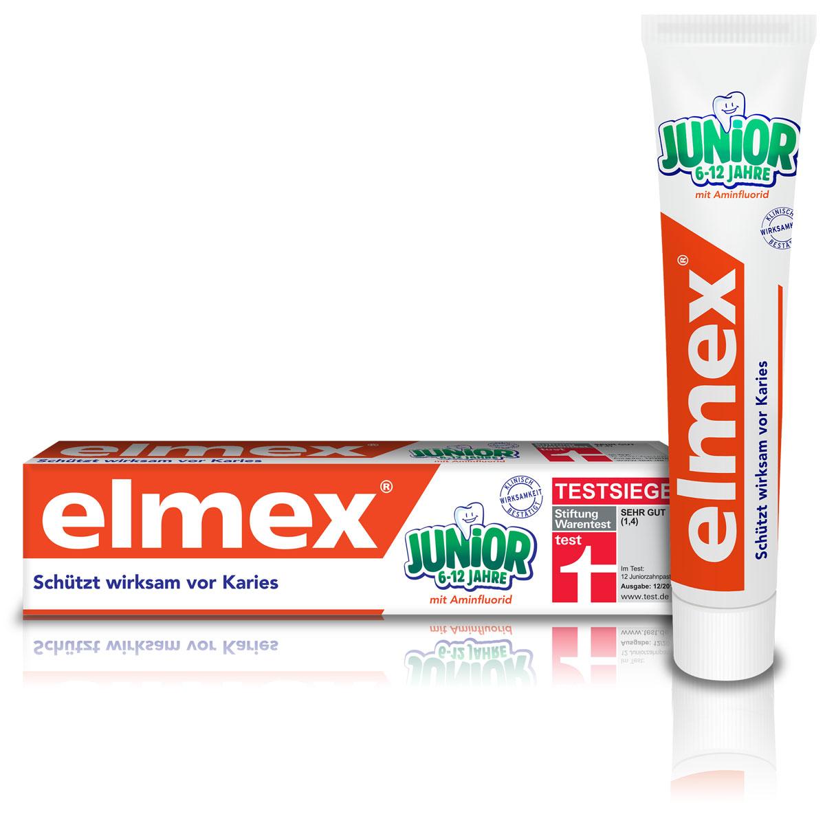 Colgate Зубная паста Elmex Юниор, детская, для детей от 6 до 12 лет, 75 мл гигиена полости рта babyline детская зубная паста со вкусом тутти фрутти 75 мл от 2 6 лет
